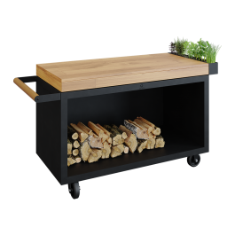 Mise en Place Table Black 135 PRO Teakholz
