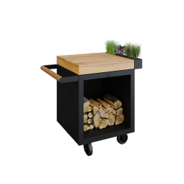 Mise en Place Table Black 65 PRO Teakholz