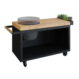 OFYR Kamado Table Black 135 PRO Teakholz BGE
