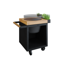 OFYR Kamado Table Black 65 PRO Teakholz BGE
